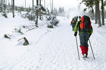 People hiking in winter