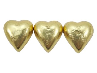 Gold &  Foil wrapped chocolate hearts