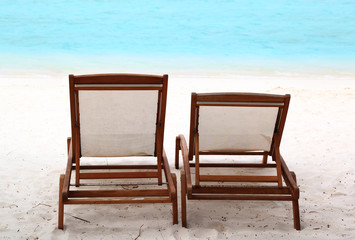 Beach Chairs on Tropical Beach