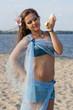 Girl with seashells.