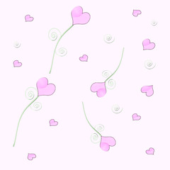 scattered pink hearts