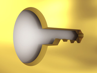 A golden access key. 3D rendering image