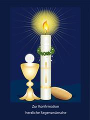Konfirmationskarte mit Kerze, Kelch mit Hostie und Brot
