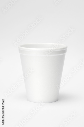 Styrofoam disposable cup with white background