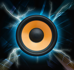 Abstract musical background, speaker system