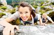 climbing woman hiker