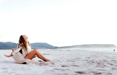 beach woman carefree
