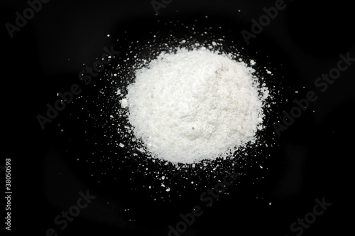 Pile of Sea Salt on Black Background