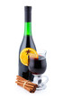Bottle of red wine anf cup of mulled wine isolated