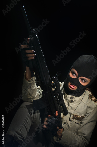 army girl in mask