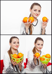 beautiful girl with basket of fresh oranges