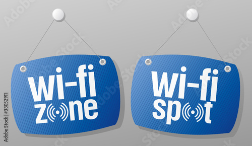 wi-fi internet signal signs to the store and bar