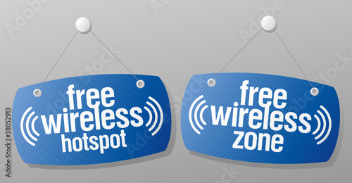 Free wireless hotspot signs to the store and bar