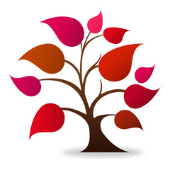 Tree logo (red, magenta)