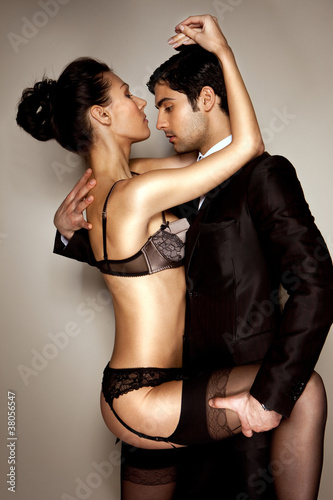 Lady In Lingerie With Businessman