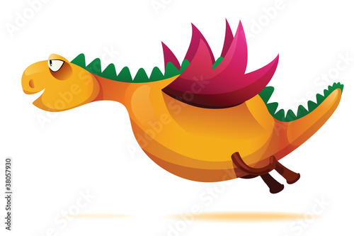 Vector illustration of funny yellow dragon.