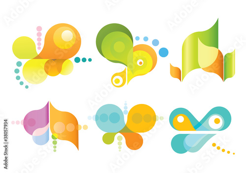 Set of 6 abstract icons.