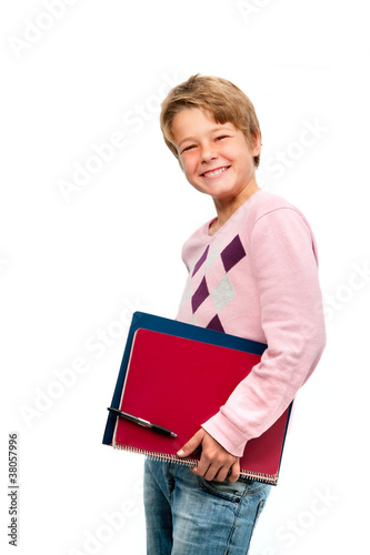 Portrait of young student holding notebooks