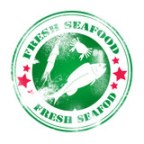 Fresh seafood illustration stamp