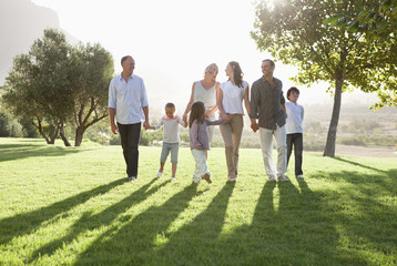 Families walking in sunny park