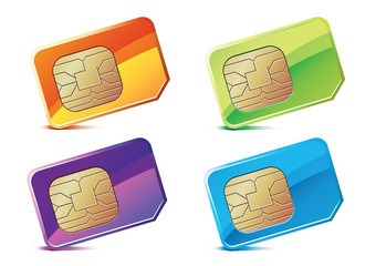 Vector illustration of color SIM Cards.
