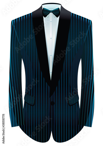Vector illustration of striped tuxedo and neck-tie.