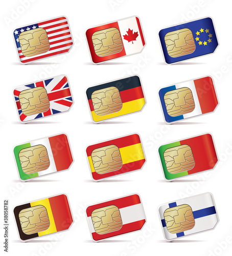 Vector illustration of SIM Cards with flags.