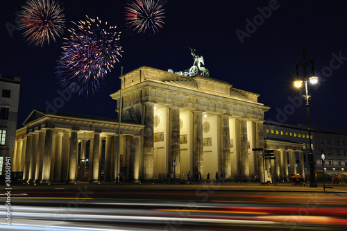 Brandenburg gate illuminated at night in Berlin