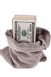 Dollar Geldscheine in einem Sack