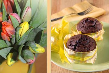 muffins und tulpen