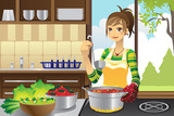 Fototapety Housewife cooking