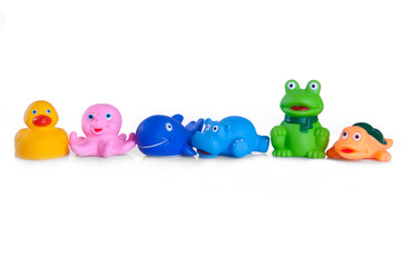 many different toys in the form of rubber animals