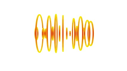 Set of orange pulsating sound waves
