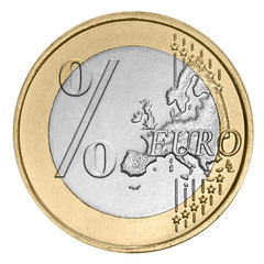 Euro coin with percent sign