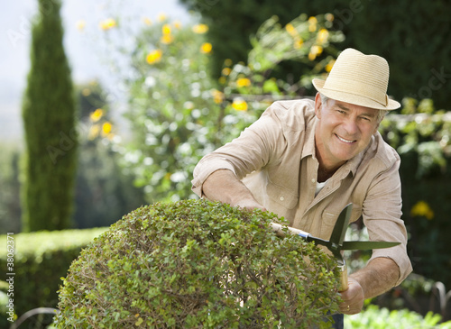 Smiling senior man pruning bush