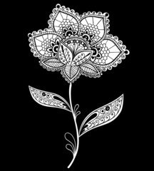 Flower Lace Henna Doily Vector Design