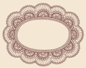 Henna Lace Doily Frame Vector Doodle