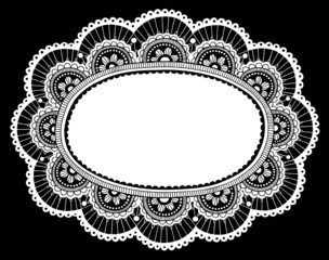 Lace Doily Flower Frame Doodle- Vector Illustration Design