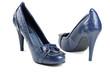 Blue women shoes, crocodile leather