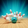 Leinwandbild Motiv Bowling Strike blau