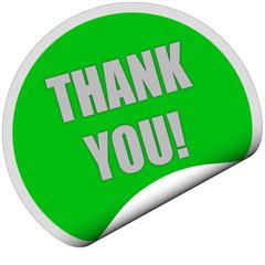 Sticker grün rund curl unten TANK YOU!