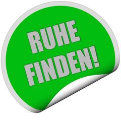Sticker grün rund curl unten RUHE FINDEN