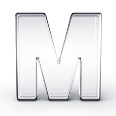 The letter M in glass