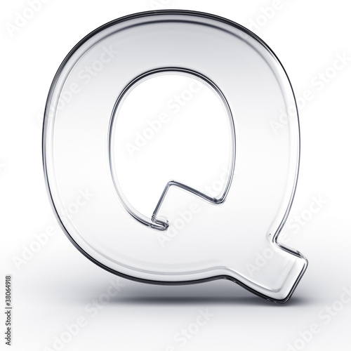 The letter Q in glass