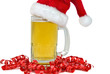 santa hat on beer