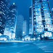 night view of modern street in shanghai