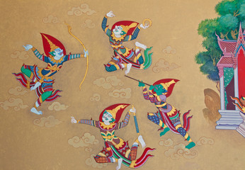 Vintage traditional Thai style art painting.