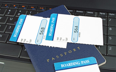 blue passport and boarding card