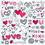 Fototapety Valentine's Day Love Hearts Sketchy Doodle Vector