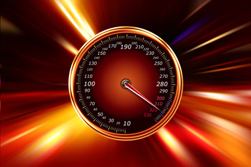 speedometer on night road